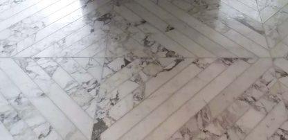 Arabescato Chevron floor